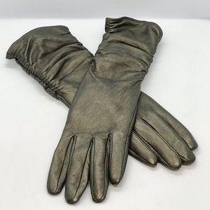 Gloves bronze leather long